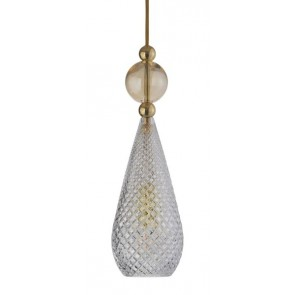 Smykke pendant lamp Ø12,5 crystal / golden smoke ball