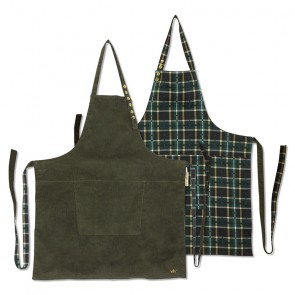 Dutchdeluxes Reversible Aprons | Khaki Cord vs Checkered Green