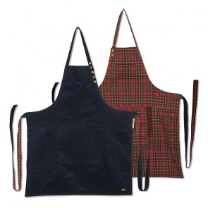 Dutchdeluxes Reversible Aprons | Navy Cord vs Checkered Red