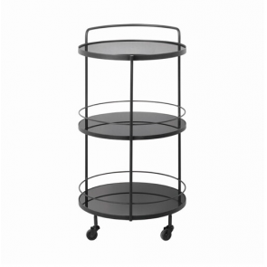 Lucy bar cart-3 black mirror shelves
